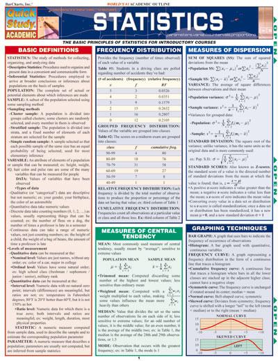barcharts statistics quick study guide learning charts online rh teachersupplysource com statistics study guide grade 7 statistics study guide pdf