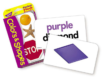 Pocket Flash Cards Colors 56-Pk & Shapes 3 X 5 Two-Sided Cards