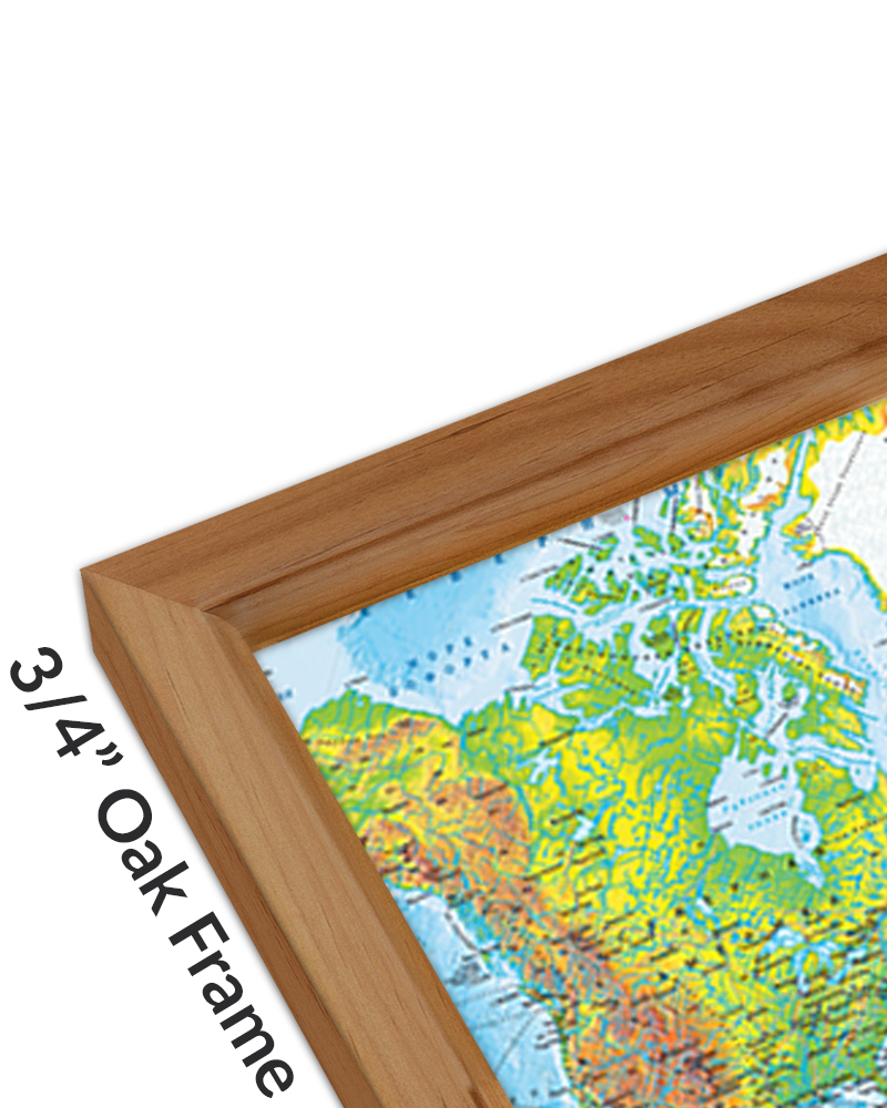 Hubbard Scientific Raised Relief Map: California State, Wood Frame