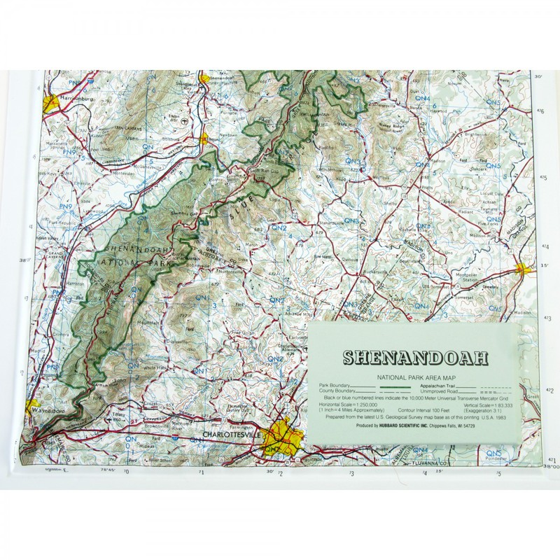 Hubbard Scientific Raised Relief Map Shenandoah National Park