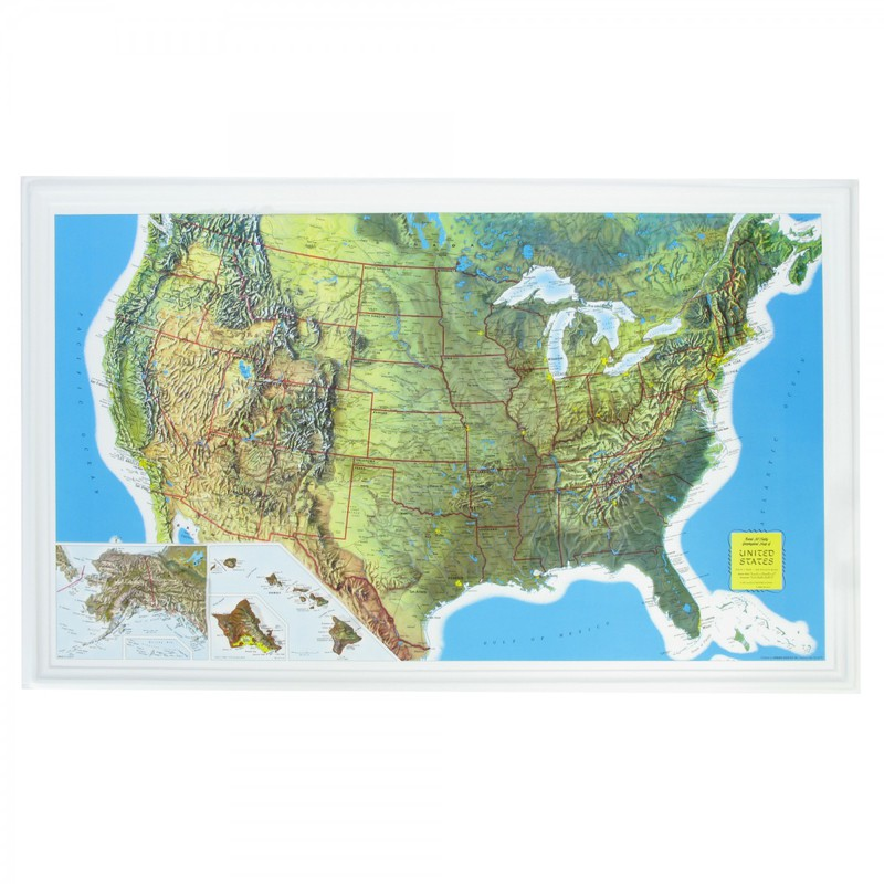 "Scott Resources & Hubbard Scientific U.S. Relief Map: Rand McNally, 34"" X 21"" Size"