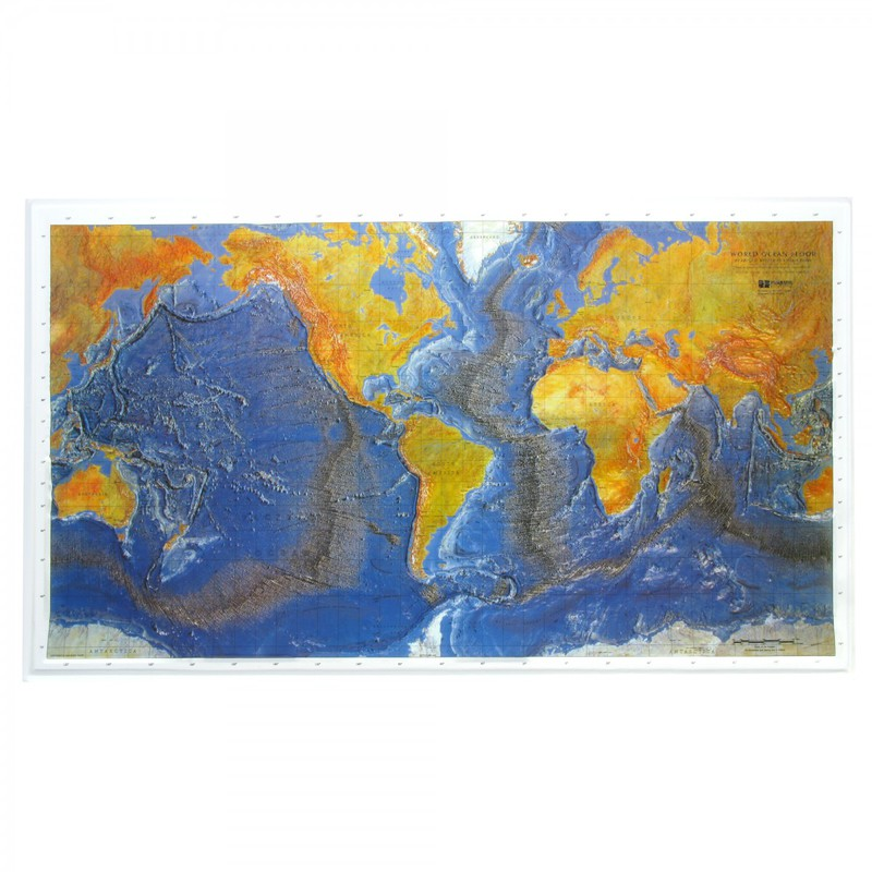 American Education Ocean Floor Map (Raised Relief): Gold Frame