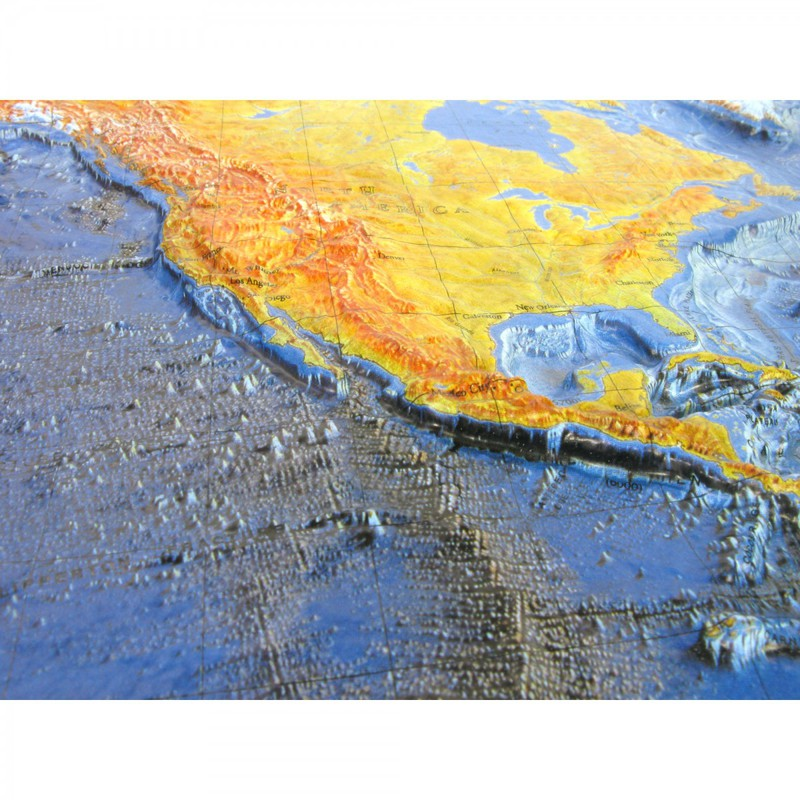 American Education Ocean Floor Map (Raised Relief): Wood Frame