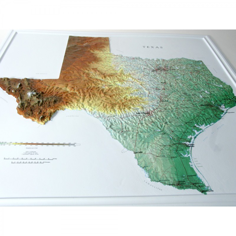 Relief Map Of Texas.Hubbard Scientific Raised Relief Map Texas State Usa Maps By