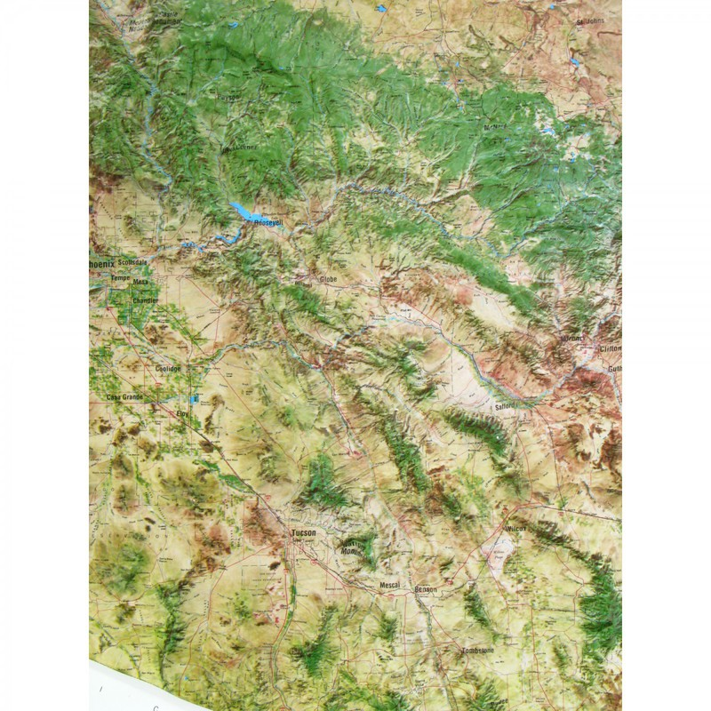 American Education Raised Relief Map: Arizona Satellite Map