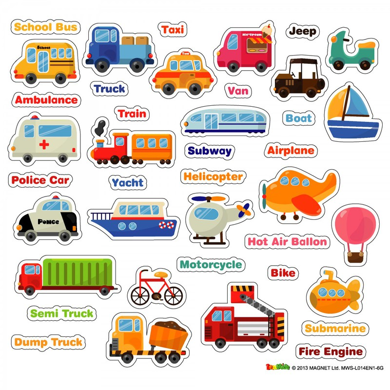 American Educational Magnetic Wall Stickers: Transportation