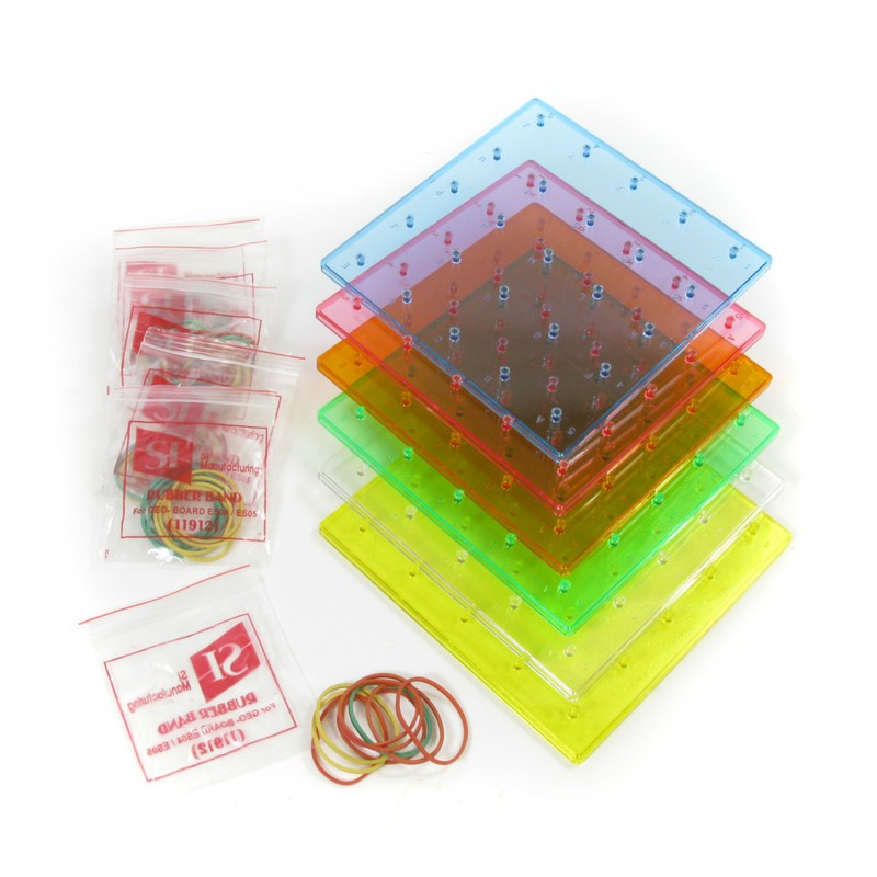 American Educational Geoboards: Transparent, Rainbow Colored