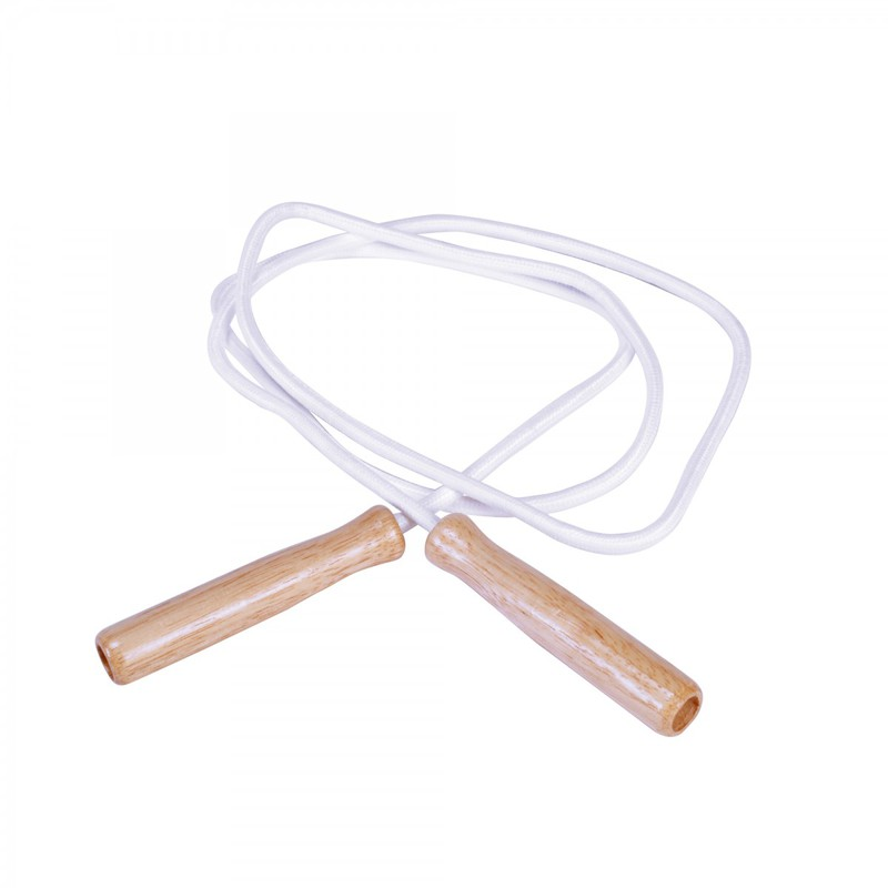 Yellowtails Heavyweight Cotton Jump Rope with Wood Handles: White, 10 feet Length, Set of 6