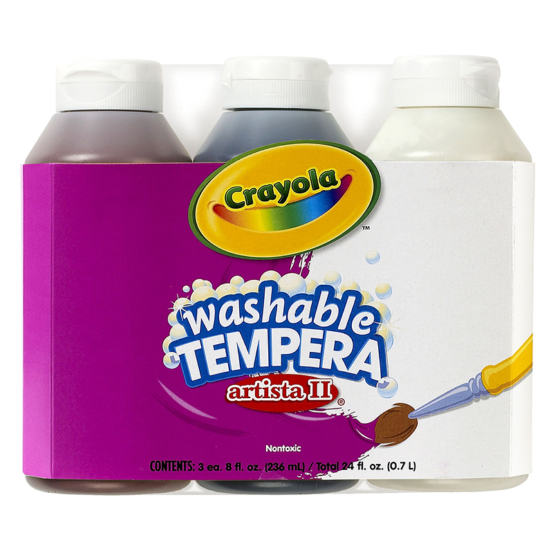 Crayola Artista Ii Tempera 3 - 8oz Neutral Color Set Washable Paint