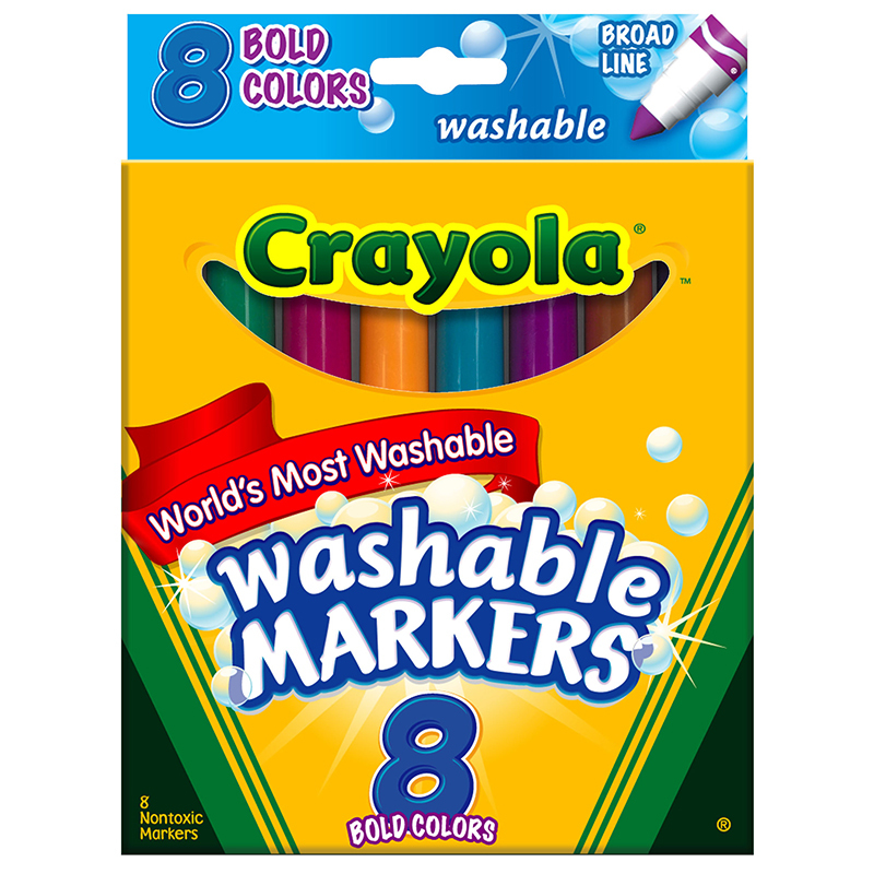 Crayola Washable Markers 8 Pk Bold Colors Conical Tip