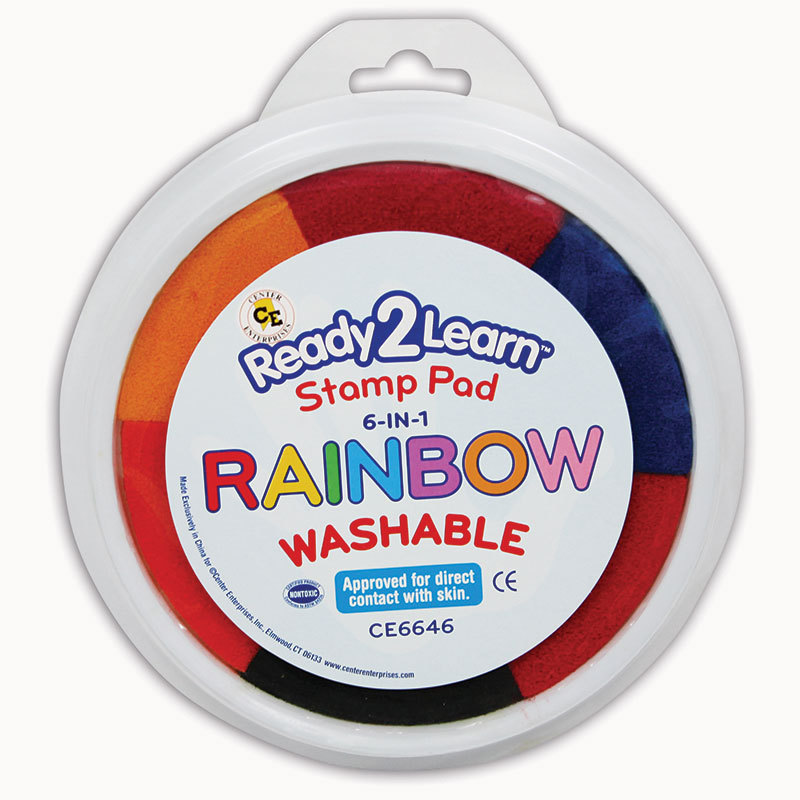 Center Enterprises Inc. Jumbo Circular Washable 6-In-1 Pads Rainbow Yel Red Org Blk Blu & Pnk
