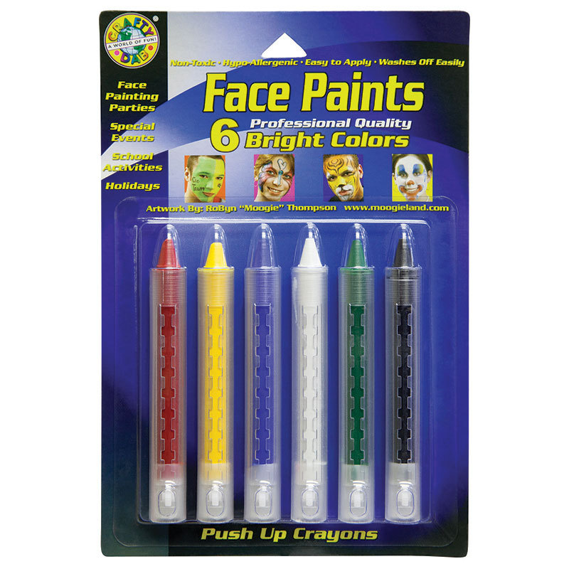 Crafty Dab Push-Up Face Paints 6pk Bright