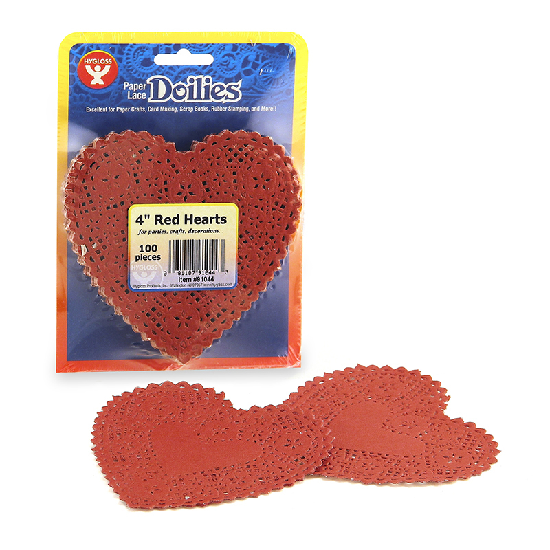Hygloss Products Inc. Doilies 4 Red Heart 100/pk