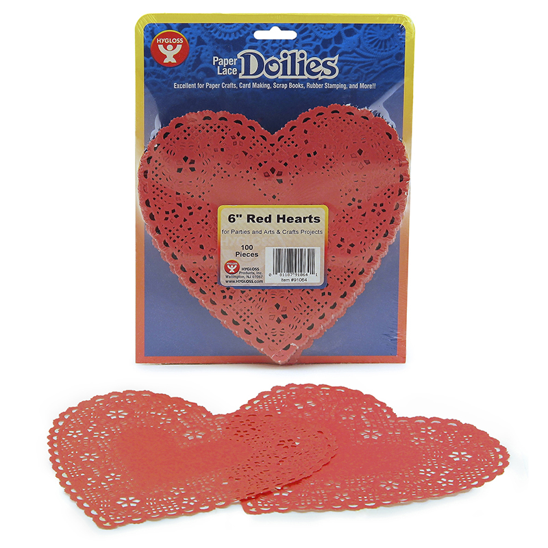 Hygloss Products Inc. Doilies 6 Red Hearts 100/pk