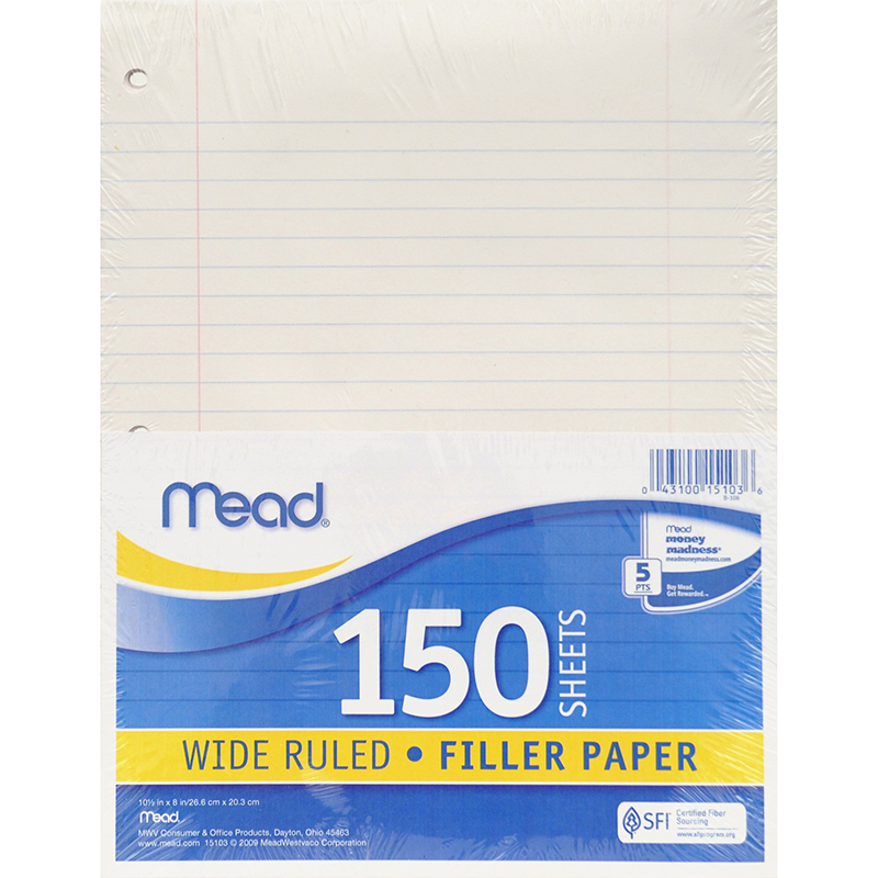 Mead® Notebook Paper Wide Ruled 150ct
