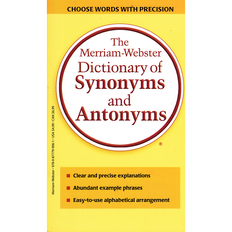 Merriam Webster Dictionary Of Synonyms & Antonyms Paperback
