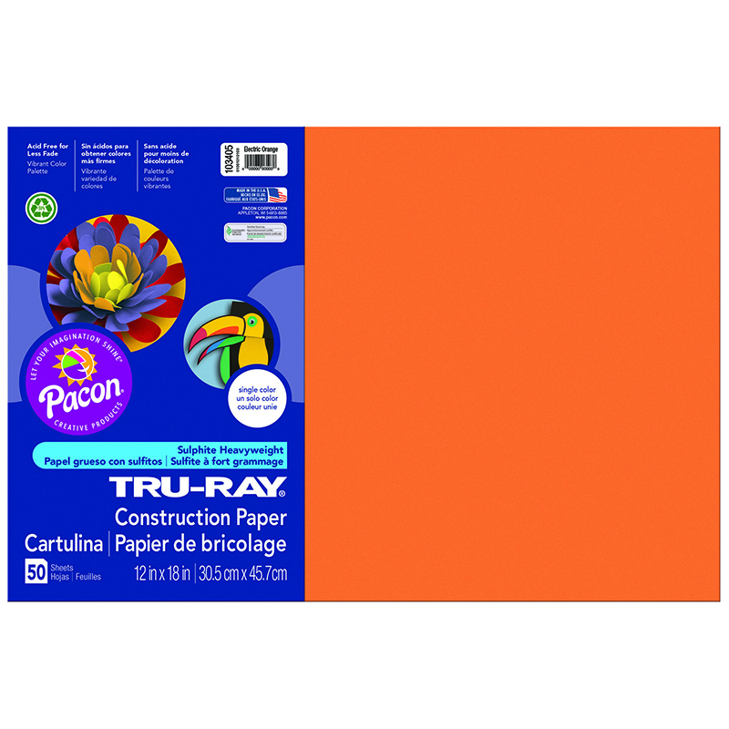 Tru Ray Electric Orange 12x18 Fade Resistant Construction Paper