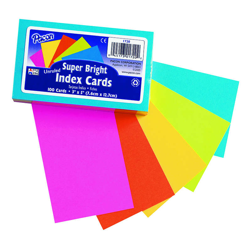Super Bright Index Cards 3x5 Unrule