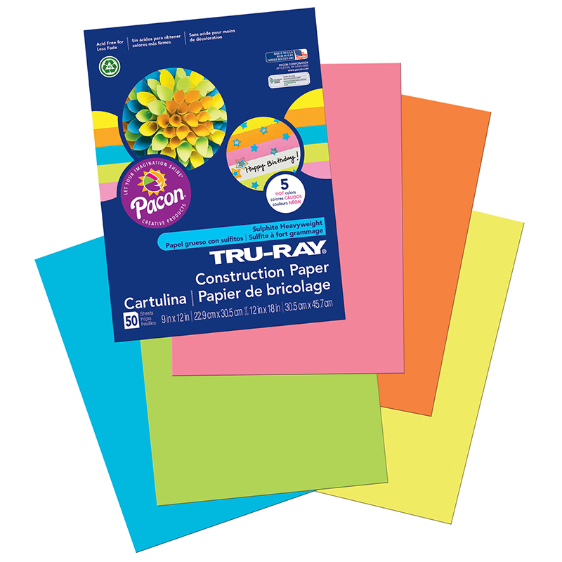 Tru Ray Hot Asst 9x12 Fade Resistant Construction Paper