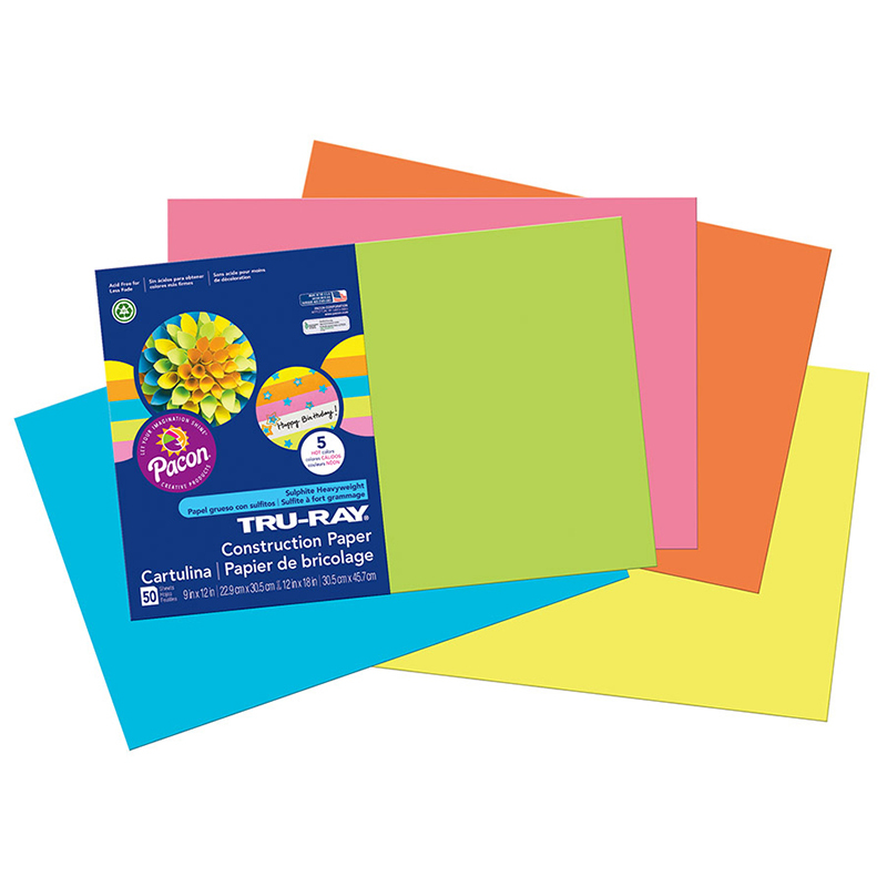Tru Ray Hot Asst 12x18 Fade Resistant Construction Paper