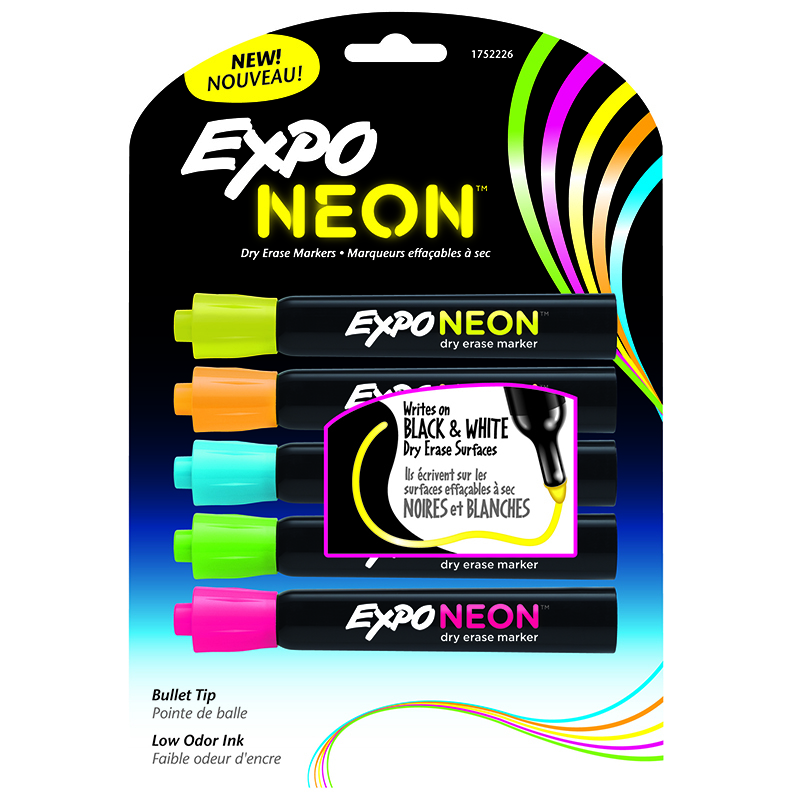 Expo® Expo Neon Bullet 5/pk Pnk Org Yel Grn Blu Carded