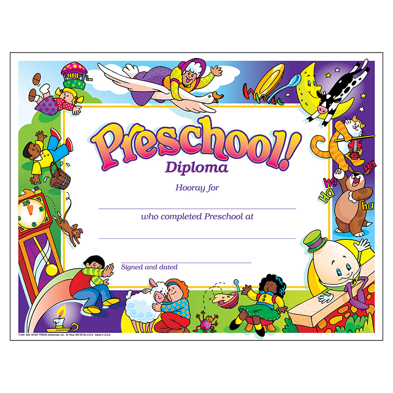Kindergarten Awards Certificates: Diploma Preschool 30/pk 8-1/2 X 11