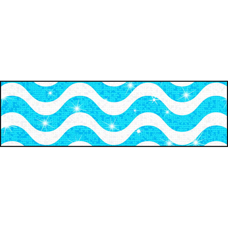 Wavy Blue Bolder Borders Sparkle Plus