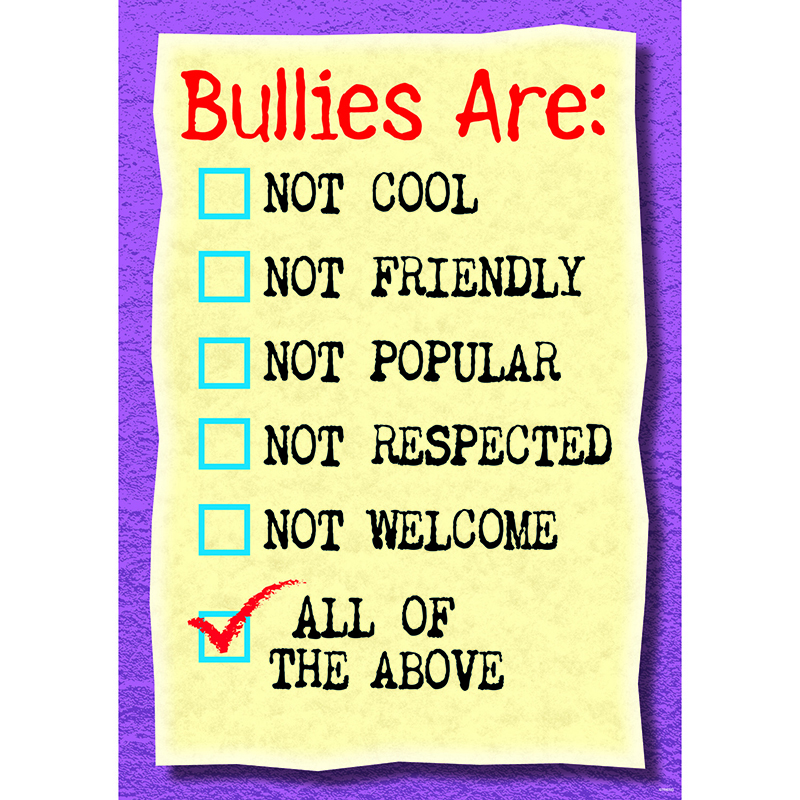Poster Bullies Are Not Cool Not Friendly Argus