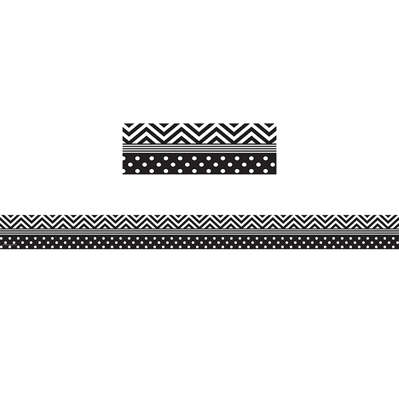 Black & White Chevron And Dots Trim Straight Border
