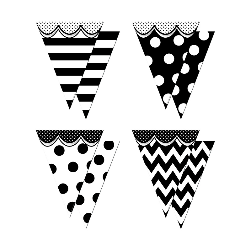Pennants With Pizzazz Big Bold Black & White