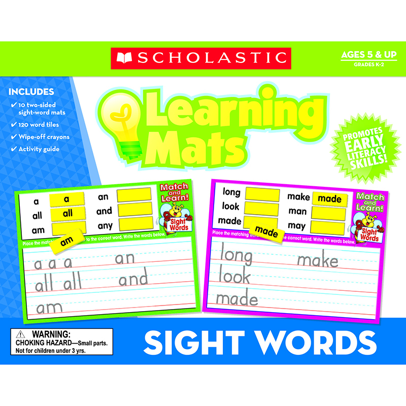 Scholastic Sight Words Learning Mats: Ages 5 & Up