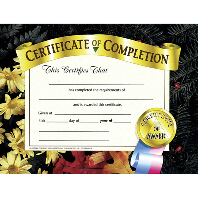 Hayes (6 Pk) Certificates Of Completion 8.5x11 30 Per Pk