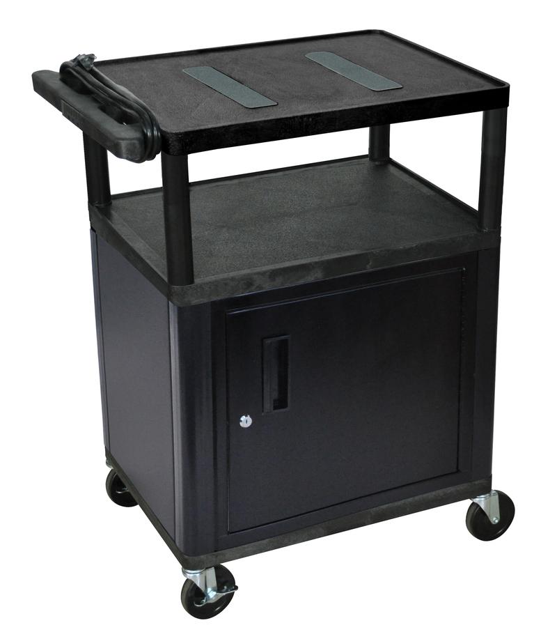 """Luxor Kitchen Cabinets: Luxor Endura AV Cart 3 Shelves With Cabinet: Black, 34"""" H"""