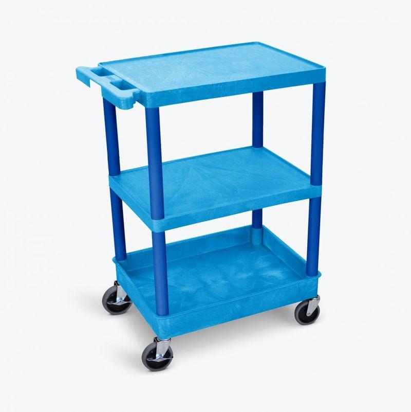 Luxor Flat Top/Middle & Tub Bottom Shelf Cart: Blue ...