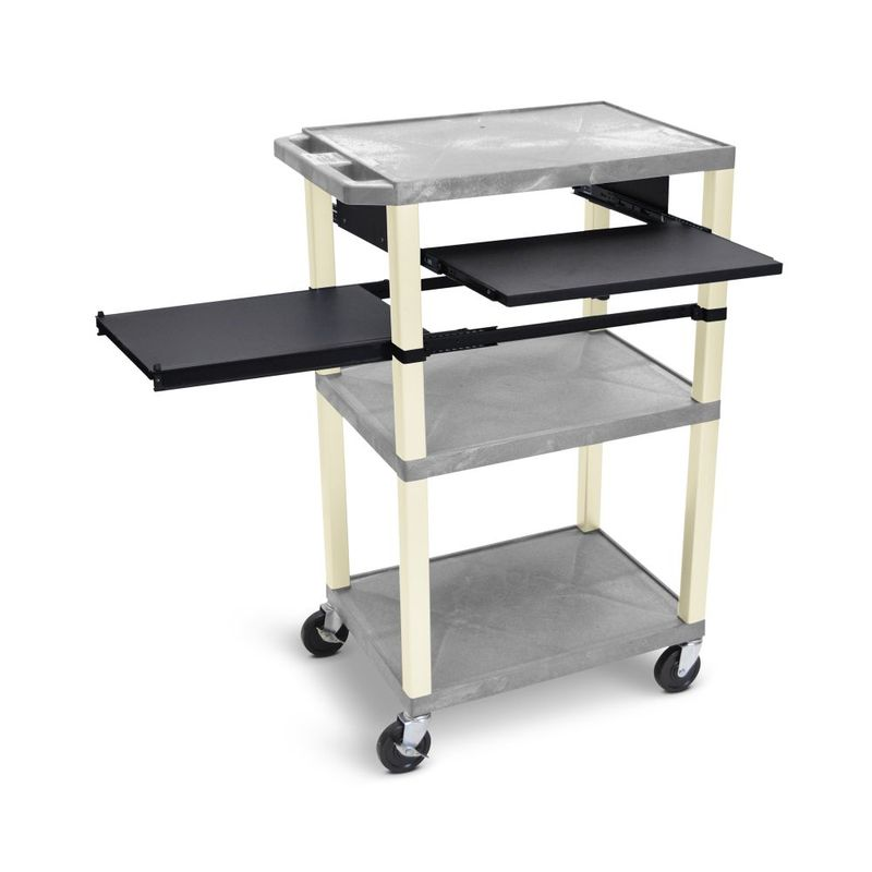 "Luxor 42""H AV Cart - 3 Shelves, Pullout - Putty Leg"