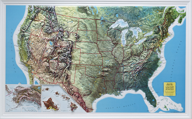 "American Education U.S. Relief Map: 34"" x 21"", Rand Wood Frame"