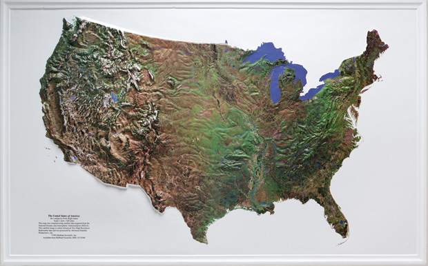 "American Education U.S. Satellite Image Relief Map: 34"" x 21"", Wood Frame"