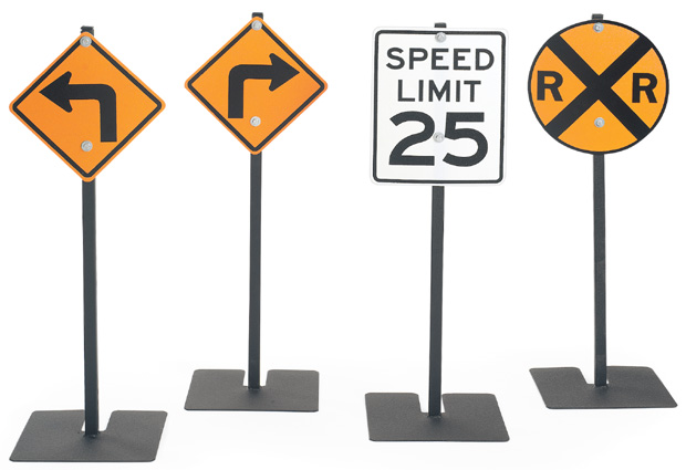 Angeles Traffic Signs: Left Turn, Right Turn, Rr Crossing & 25Mph Speed Limit