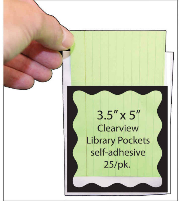 Blk Scallop Border 3 1/2 X 5 Clear View Self Adhesive Library Pockets