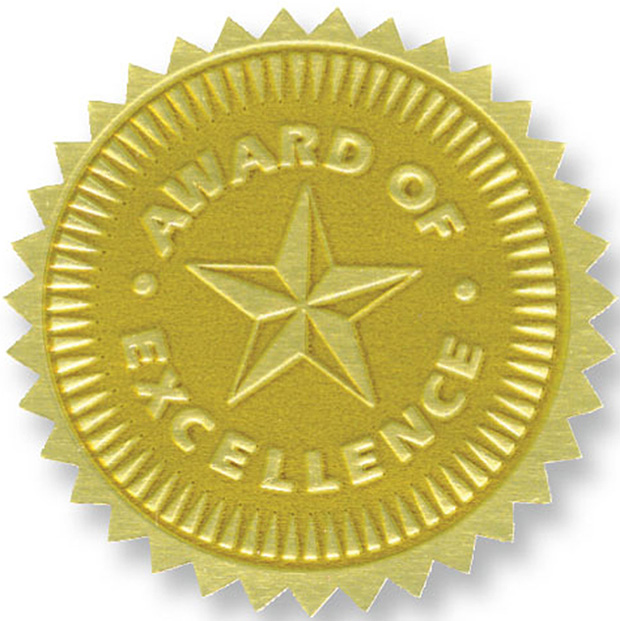 Gold Foil Embossed Seals Award Of Excellence