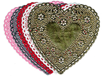 Doilies 6 Pink Hearts