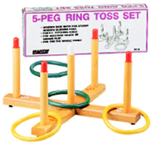 Martin Sports Ring Toss Game 5-Peg Base Wood Pegs 4 Plastic Rings