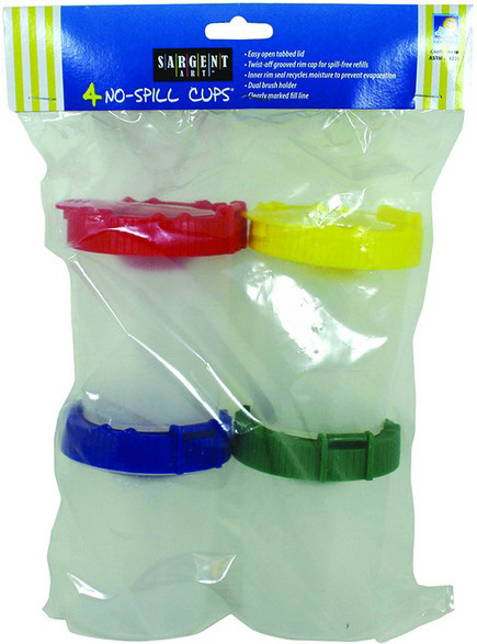 Sargent Art 4pk No Spill Cups W/ Poly Bag