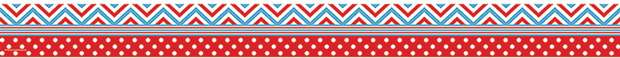 Red & Blue Chevrons & Dots Straight Border Trim