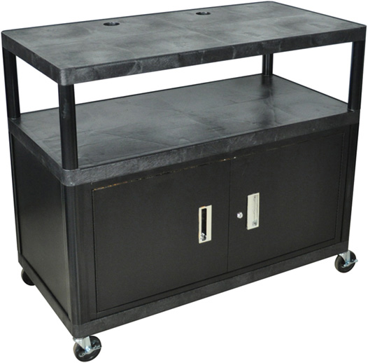 Luxor Kitchen Cabinets: Luxor Endura Extra Wide Cart 3 Shelves With Cabinet: Black