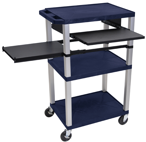"Luxor 42""H AV Cart - 3 Shelves, Pullout - Nickel Leg"
