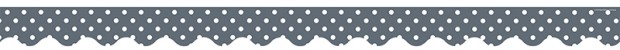 Gray Mini Polka Dots Scalloped Border Trim