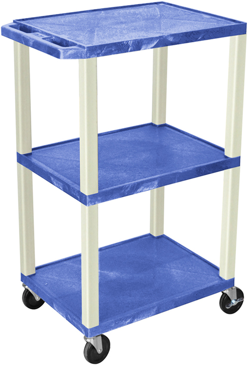 "Luxor 42""H AV Cart - 3 Shelf, Electric - Putty Leg"
