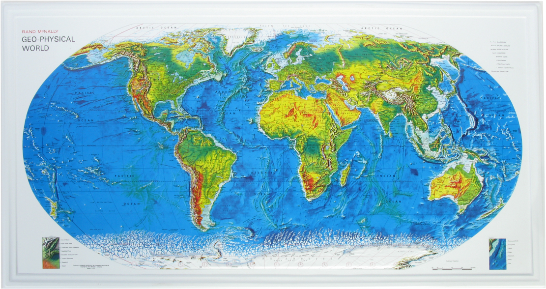 "Scott Resources & Hubbard Scientific World Geo-Physical Map: 38"" X 20"" Size"