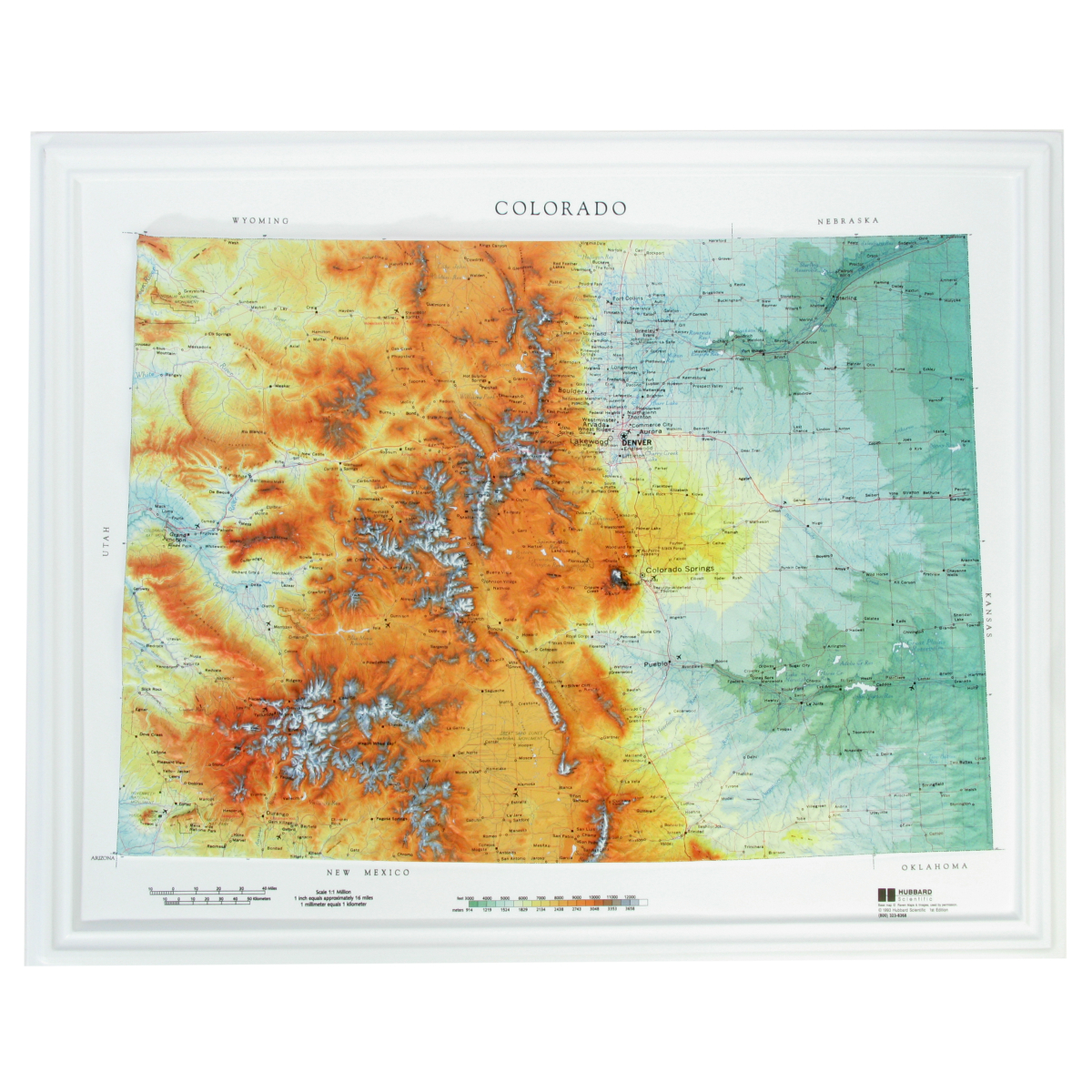 Hubbard Scientific Raised Relief Map Colorado State Map Usa Maps